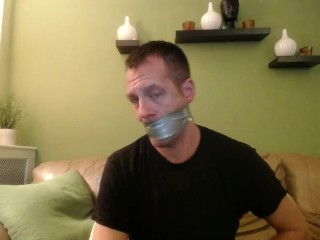tape;gag;self;bondage;jock,Fetish;Solo Male;Gay;Amateur;Jock Tape Gagged