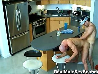 gay Gay sex on a kitchen